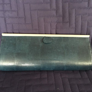 Embossed Hard-sided Blue Clutch